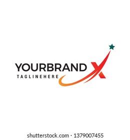 Star letter X logo. Letter X Stars Swoosh Logo design concept template vector