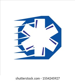 star of life an ambulance logo vector design for medical emergency pharmacy sign or symbol