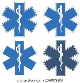 Star of Life. Blue six-pointed star in the center - the White Rod of Asclepius
