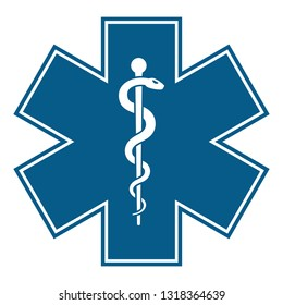 Star of Life medical symbol of the Emergency icon isolated on white background. EMS, First responde. The snake entwined around a wooden staff. Vector illustration