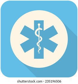 Star of Life, modern flat icon with long shadow