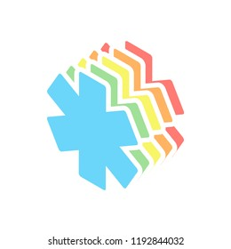 Star of life. Stack of colorful isometric icons on white background