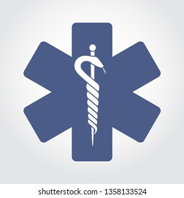 Star of Life - symbol of ambulances and emergency medical services in the US and other countries. The Rod of Asclepius (the god of healing and medicine) health symbol - flat logo, icon