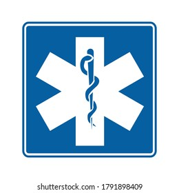 Star of life. Vector illustration of Caduceus health symbol Asclepius's. Medical symbol with snake. Informative road sign. Symbol of Emergency Medical Services.