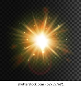 Star light with lens flare effect. Shining sun glow. Sparkling light particles and sun rays on transparent background with halo effect