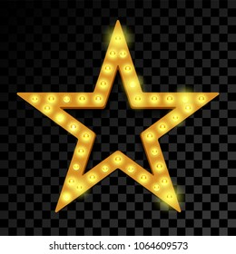 Star of lightbulb neon signboard on transparent background. Vector isolated abstract retro star of lamps light