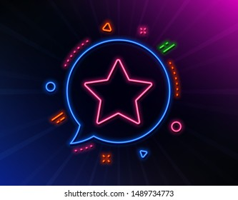 Star line icon. Neon laser lights. Best rank sign. Bookmark or Favorite symbol. Glow laser speech bubble. Neon lights chat bubble. Banner badge with star icon. Vector