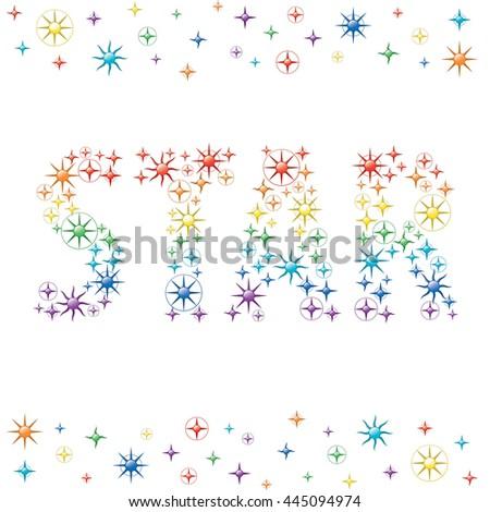 Star Logo Authentic Stars Symbols Rainbow Stock Vector Royalty Free