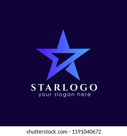 star logo design stock with arrow symbol in the middle. star vector icon
