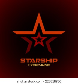 Star logo template. Space technical military theme.