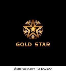 Star logotype vector design gold color