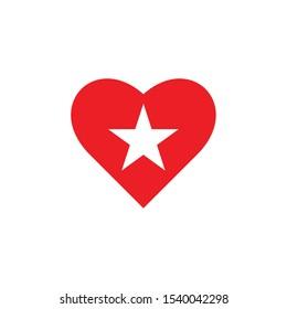 Star Love Logo. Vector star heart icon stock illustration. Love and Star Logo Design - Vector