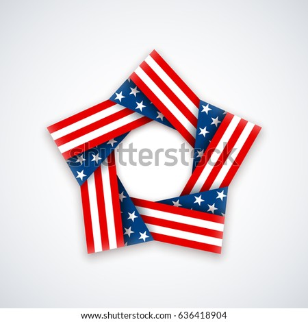 e8680b4cb85 Star made of double ribbon with american flag Stars and stripes. Vector  illustration for USA national holidays. - Vector