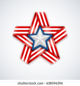Star made of interlaced ribbon with American flag stripes and white star within. Vector illustration for USA national holidays.