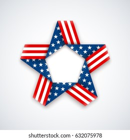 Star made of ribbon with american flag colors and symbols. Vector illustration for USA national holidays.