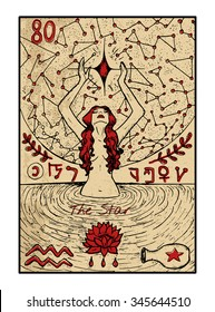 The star.  The major arcana tarot card in color, vintage hand drawn engraved illustration with mystic symbols. Young woman swimming in the pond and looking at the star