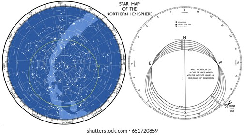 Star map. The search mobile map of the starry sky of the northern hemisphere. Works in a wide range of geographical latitudes.