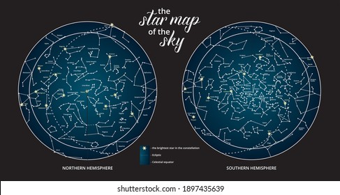 The star map of the sky. North and South hemisphere.