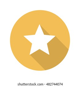 Star mark flat design long shadow icon. Rate and favorite gold button. Vector silhouette symbol
