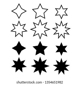 Star minimal vector icons isolated on white background. Rating symbol in trendy flat style for web design, social media, infographic or app.