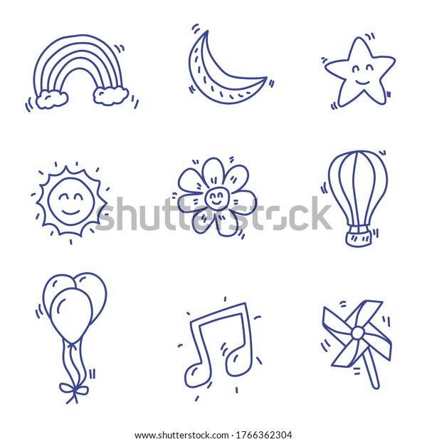 Star and miscellaneous things doodle vector  drawn in hand drawn design isolated on white background