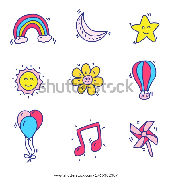 Star and miscellaneous things doodle vector  drawn in hand drawn colorful design isolated on white background