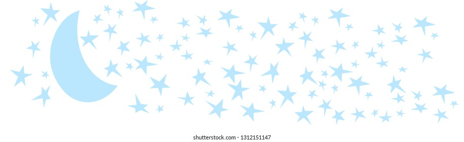 Star Moon night illustration for sign, poster,decal