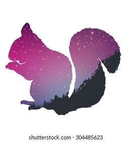 Star night in mountain background with squirrel silhouette. Great for your design.