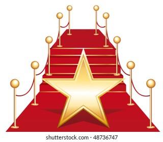 Star on red carpet. Vector illustration ll.
