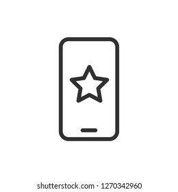 star on the screen of the smartphone. linear icon. Line with edi
