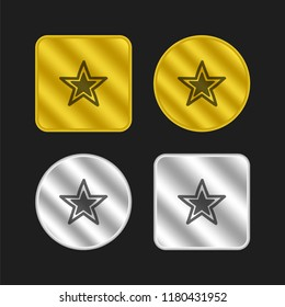 Star outline with black smaller star inside gold and silver metallic coin logo icon design
