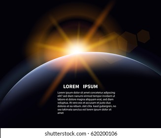 Star  over the planet. The rays of the rising sun in space.Ready template for brochure or poster. Vector illustration