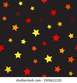 Star pattern. Seamless vector background - maroon, red, orange, gold, yellow five-pointed stars on black backdrop