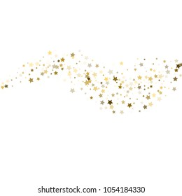 Star pattern. White, background, gold, gift wrap. Vector