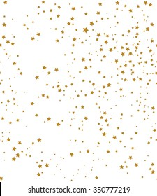 Star pattern. white, background, gold, gift wrap. Vector illustration.