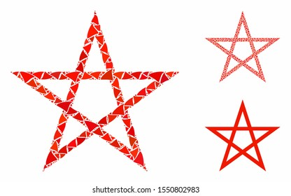 Star pentagram mosaic of irregular elements in variable sizes and color tones, based on star pentagram icon. Vector abrupt elements are grouped into collage.