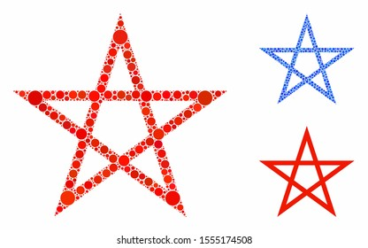 Star pentagram mosaic of round dots in different sizes and color tinges, based on star pentagram icon. Vector round elements are united into blue mosaic.