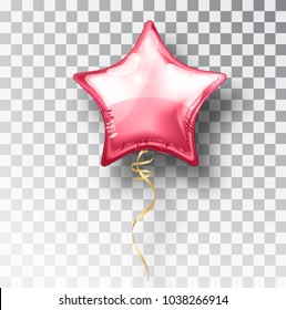 Star pink balloon on transparent background. Party helium balloons event design decoration. Balloons isolated air. Mockup for balloon print. Stocking Christmas decorations. Vector isolated object.