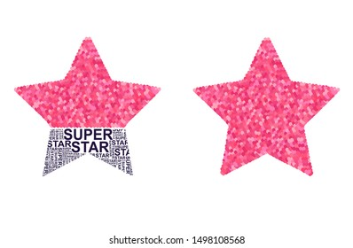 Star with pink glitter hearts and slogan super star.