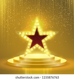Star podium of lightbulb lamps. Vector neon stage signboard with golden glittery sparkling light background