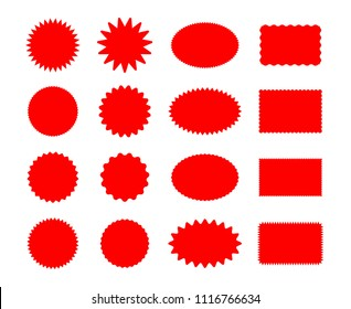 Star price stickers. Starburst sticker set isolated on white background, vector star burst splash promo tags or bright sale badges