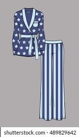 Star print pajamas. Cardigan and pants. Isolated vector.
