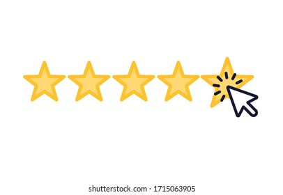 Star rating with clicking cursor icon, flat and clean design on white background