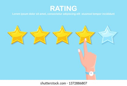 Star rating. Client feedback, customer review. Survey for marketing service. Vector fkat design