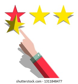 Star Rating Concept. Hand and Three Paper Cut Stars Stickers Vector Flat Design Illustration.