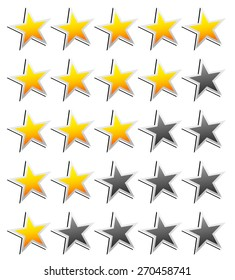 Star Rating Element. Star rating system for feedback, value, good-bad experience, customer satisfaction, valuation of quality, good-bad quality concepts. Vector.