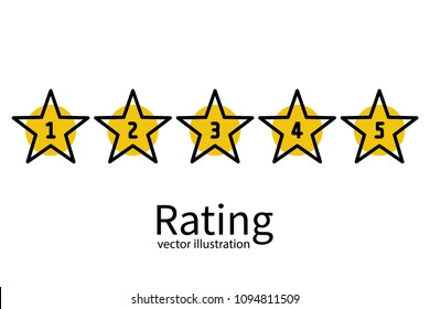 Star rating minimal design black line. 5 star rate icon. Feedback concept. Evaluation system. Positive review. Vector illustration flat style. Isolated on white background. Quality work. Web template