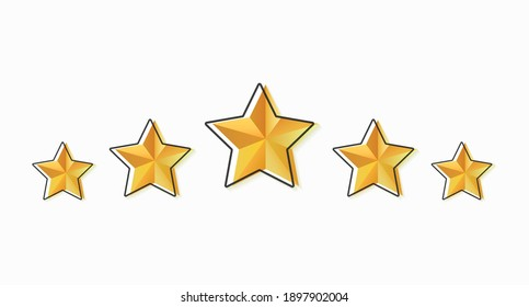 Star rating. Set of gold five stars isolated on a light background. Feedback concept. Evaluation system. Vector illustration