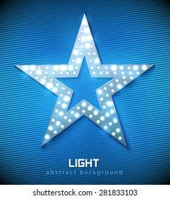 Star retro light banner blue color. Vector illustration eps 10