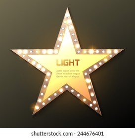 Star retro light banner. Vector illustration